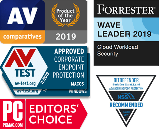 GravityZone 2020 Awards image: AV Comparatives -product of 2019, Forrester Wave Leader 2019, AV Test - Corporate Enpoint Protection MACOS and Windows, NSS Recommended, PC Mag editors' choice.